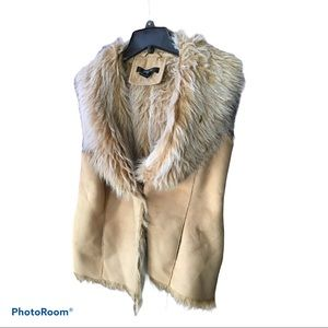 Style & Co. Tan Faux Fur Collar Vest